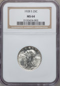 Standing Liberty Quarters: , 1928-S 25C MS64 NGC. NGC Census: (246/428). PCGS Population(422/596). Mintage: 2,644,000. Numismedia Wsl. Price for proble...