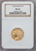 Indian Half Eagles: , 1908 $5 MS62 NGC. NGC Census: (2673/2058). PCGS Population (1822/2182). Mintage: 577,800. Numismedia Wsl. Price for problem...