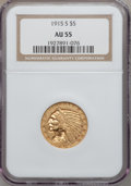 Indian Half Eagles: , 1915-S $5 AU55 NGC. NGC Census: (264/708). PCGS Population(106/397). Mintage: 164,000. Numismedia Wsl. Price for problem f...