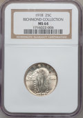 Standing Liberty Quarters: , 1918 25C MS64 NGC. Ex: Richmond Collection. NGC Census: (122/93).PCGS Population (142/93). Mintage: 14,240,000. Numismedia...