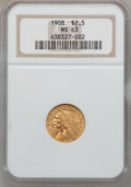 Indian Quarter Eagles: , 1908 $2 1/2 MS63 NGC. NGC Census: (1437/1957). PCGS Population(1446/1886). Mintage: 564,800. Numismedia Wsl. Price for pro...