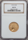 Indian Half Eagles: , 1913-S $5 AU53 NGC. NGC Census: (137/1412). PCGS Population(64/670). Mintage: 408,000. Numismedia Wsl. Price for problem f...