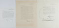Autographs:Authors, Actress and Writer Margerie Lowry (1905-1988) Lot of Three TypedSigned Letters. Each one page, various sizes, Los Angeles, ...