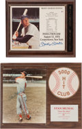 Baseball Collectibles:Photos, Mickey Mantle and Stan Musial Signed Plaques Lot of 2....