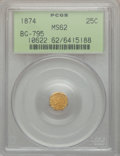 California Fractional Gold: , 1874 25C Indian Octagonal 25 Cents, BG-795, R.3, MS62 PCGS. PCGSPopulation (29/138). NGC Census: (4/13). ...