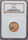 Indian Half Eagles: , 1915 $5 AU55 NGC. NGC Census: (188/5939). PCGS Population(363/4065). Mintage: 588,075. Numismedia Wsl. Price for problemf...