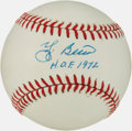 "Autographs:Baseballs, Yogi Berra Single Signed Baseball With ""HOF 72"" Inscription...."