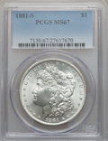 Morgan Dollars: , 1881-S $1 MS67 PCGS. PCGS Population (1642/101). NGC Census:(3971/201). Mintage: 12,760,000. Numismedia Wsl. Price for pro...