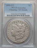 Morgan Dollars: , 1893-CC $1 -- Cleaned -- PCGS Genuine. VF Details. NGC Census:(128/2554). PCGS Population (204/4659). Mintage: 677,000. Nu...