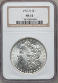Morgan Dollars: , 1903-O $1 MS62 NGC. NGC Census: (654/5918). PCGS Population(909/9658). Mintage: 4,450,000. Numismedia Wsl. Price for probl...
