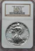 Modern Bullion Coins: , 1995 $1 Silver Eagle MS70 NGC. NGC Census: (467). PCGS Population(1). Mintage: 4,672,051. Numismedia Wsl. Price for proble...
