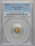 California Fractional Gold: , 1874 25C Indian Octagonal 25 Cents, BG-795, R.3, MS64 PCGS. PCGSPopulation (67/22). NGC Census: (4/2). ...