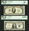 Error Notes:Error Group Lots, Fr. 1621 $1 1957B Silver Certificate. PCGS Very Choice New 64PPQ;.Fr. 2012-D $10 1950B Federal Reserve Note. PCGS Apparen... (Total:2 notes)