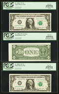 Error Notes:Miscellaneous Errors, Fr. 1909-E $1 1977 Federal Reserve Notes. Three Consecutive Examples. PCGS Gem New 65PPQ.. ... (Total: 3 notes)