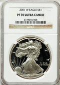 Modern Bullion Coins: , 2001-W $1 Silver Eagle PR70 Ultra Cameo NGC. NGC Census: (3540).PCGS Population (1080). Numismedia Wsl. Price for problem...
