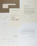 Autographs:Authors, [Autographs]. Dominick Dunne. Group of Six Assorted Autographs, Some TLS. Various sizes. Very good or better condition.... (Total: 6 Items)