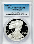 Modern Bullion Coins, 2010-W $1 Silver Eagle PR70 Deep Cameo PCGS. PCGS Population(1571). NGC Census: (5665). Numismedia Wsl. Price for problem...