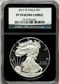 Modern Bullion Coins, 2012-W $1 Silver American Eagle PR70 Ultra Cameo NGC. 25thAnniversary Holder. NGC Census: (3892). PCGS Population (672). ...