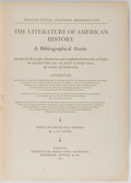 Books:Americana & American History, J. N. Larned, editor. The Literature of American History. ABibliographical Guide. Boston: Houghton, Mifflin, 1902. ...