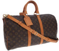 Luxury Accessories:Travel/Trunks, Louis Vuitton Classic Monogram Canvas Bandouliere Keepall 45Weekender Overnight Bag with Shoulder Strap. ...
