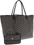 Luxury Accessories:Bags, Goyard Black Monogram Chevron Canvas Saint Louis Tote Bag. ...