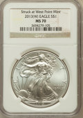 Modern Bullion Coins, 2013-(W) $1 One Ounce Silver Eagle, Struck at West Point Mint,First Strike MS70 NGC. NGC Census: (0). PCGS Population (123...