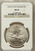 Modern Issues: , 1994-W $1 P.O.W. Silver Dollar MS69 NGC. NGC Census: (1117/621).PCGS Population (1685/402). Mintage: 54,790. Numismedia Ws...