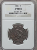 Large Cents: , 1826 1C XF40 NGC. NGC Census: (8/170). PCGS Population (12/118).Mintage: 1,517,425. Numismedia Wsl. Price for problem free...