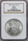 Morgan Dollars, 1887/6 $1 VAM-2, Overdate MS63 NGC. Top-100. NGC Census: (0/0).PCGS Population (27/21)....