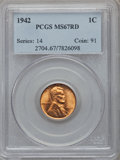 Lincoln Cents: , 1942 1C MS67 Red PCGS. PCGS Population (128/0). NGC Census:(397/0). Mintage: 657,828,608. Numismedia Wsl. Price for proble...