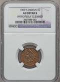 Indian Cents: , 1909-S 1C -- Improperly Cleaned -- NGC Details. AU. NGC Census:(46/460). PCGS Population (108/471). Mintage: 309,000. Numi...