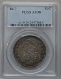 Bust Half Dollars: , 1817 50C AU50 PCGS. PCGS Population (63/229). NGC Census: (27/241).Mintage: 1,215,567. Numismedia Wsl. Price for problem f...