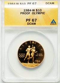 1984-P G$10 Olympic Gold Ten Dollar PR67 Deep Cameo ANACS. NGC Census: (0/1768). PCGS Population (6/2473). Mintage: 33,3...