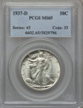 Walking Liberty Half Dollars: , 1937-D 50C MS65 PCGS. PCGS Population (728/344). NGC Census:(328/180). Mintage: 1,676,000. Numismedia Wsl. Price for probl...