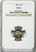 Proof Three Cent Nickels: , 1882 3CN PR65 NGC. NGC Census: (294/341). PCGS Population(327/370). Mintage: 3,100. Numismedia Wsl. Price for problemfree...