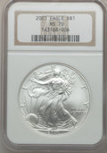 Modern Bullion Coins: , 2001 $1 Silver Eagle MS70 NGC. NGC Census: (489). PCGS Population(24). Numismedia Wsl. Price for problem free NGC/PCGS co...