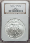 Modern Bullion Coins, 2008-W $1 Silver Eagle, Reverse of 2007 MS70 NGC. NGC Census:(4304). PCGS Population (240). Numismedia Wsl. Price for pro...