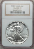 Modern Bullion Coins: , 1989 $1 Silver Eagle MS70 NGC. NGC Census: (352). PCGS Population(0). Mintage: 5,203,327. Numismedia Wsl. Price for proble...