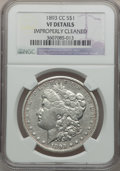 Morgan Dollars: , 1893-CC $1 -- Improperly Cleaned -- NGC Details. VF. NGC Census:(128/2554). PCGS Population (204/4659). Mintage: 677,000. ...