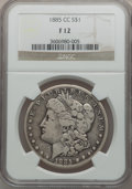 Morgan Dollars: , 1885-CC $1 Fine 12 NGC. NGC Census: (7/9279). PCGS Population(11/18650). Mintage: 228,000. Numismedia Wsl. Price for probl...