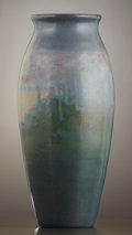 Ceramics & Porcelain, American:Modern  (1900 1949)  , A ROOKWOOD POTTERY VELLUM GLAZE SCENIC VASE DECORATED BY SALLIECOYN. Decorated by Sara Elizabeth (Sallie) Coyne (1876-1939)...