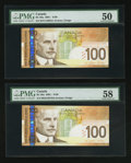 Canadian Currency: , BC-66a $100 2004 Pair of Radar Serial Numbers. ... (Total: 2 notes)