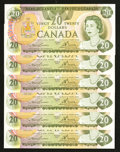 Canadian Currency: , BC-54a $20 1979 Six Examples. ... (Total: 6 notes)