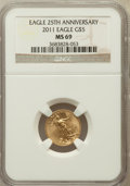 Modern Bullion Coins, 2011 $5 Tenth-Ounce Gold Eagle, 25th Anniversary MS69 NGC. NGCCensus: (356/512). PCGS Population (109/6). ...