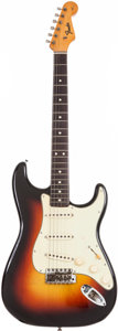 Musical Instruments:Electric Guitars, 1965 Fender Stratocaster Sunburst Solid Body Electric Guitar,Serial # L51292....