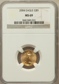 Modern Bullion Coins, 2004 G$5 Tenth-Ounce Gold Eagle MS69 NGC. NGC Census: (6370/3726).PCGS Population (7039/240). Numismedia Wsl. Price for p...