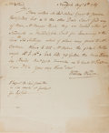 "Books:Americana & American History, Early American Document Concerning the Shipping of Potash Kettles.One page, 8"" x 9.5"", from William Wilson, New York, dated..."
