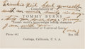 Boxing Collectibles:Autographs, Circa 1930 Tommy Burns Signed Business Card....