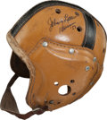 Football Collectibles:Helmets, 1950's Notre Dame Fighting Irish Game Worn, Dual Signed LeatherHelmet - Signed by Hornung and Lattner....