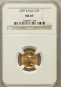 Modern Bullion Coins, 2007 $5 Tenth-Ounce Gold Eagle MS69 NGC. NGC Census: (2513/2164).PCGS Population (258/26). Numismedia Wsl. Price for prob...